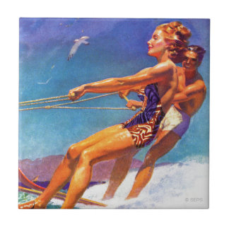 Water Skier by McClelland Barclay Ceramic Tile