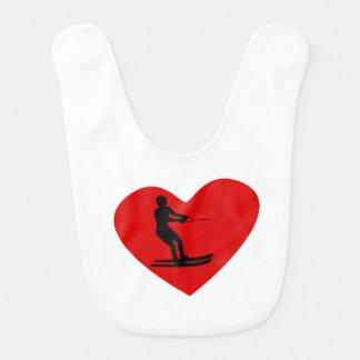 Water Skier Heart Bib