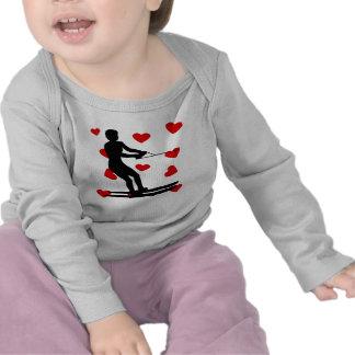 Water Skier Hearts Tee Shirt