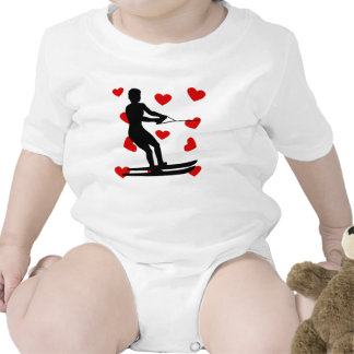 Water Skier Hearts Baby Bodysuits
