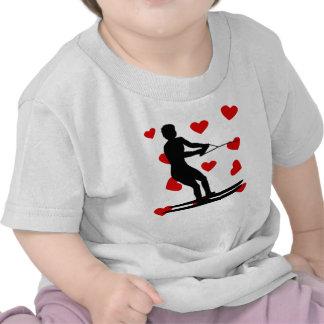 Water Skier Hearts T Shirts