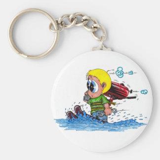 water skiing basic round button keychain