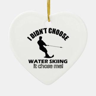 water skiing designs ceramic ornament