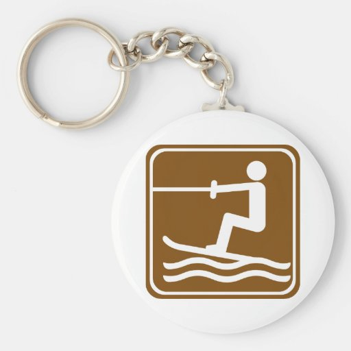 Water Skiing Highway Sign Basic Round Button Keychain