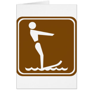 Water Skiing Highway Sign Card