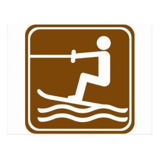 Water Skiing Highway Sign Postcard