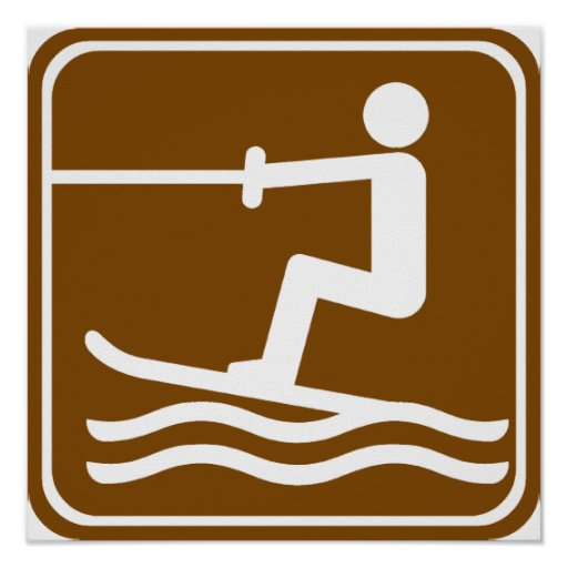 Water Skiing Highway Sign Poster