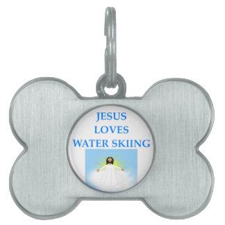 water skiing pet tag