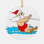 Water Skiing Santa Christmas Tree Ornament