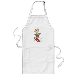 Water Skiing Stick Figure Long Apron