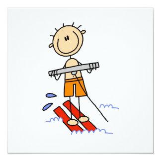 "Water Skiing Stick Figure 5.25"" Square Invitation Card"