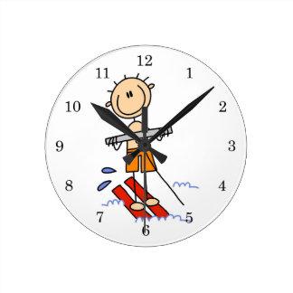 Water Skiing Stick Figure Round Clock