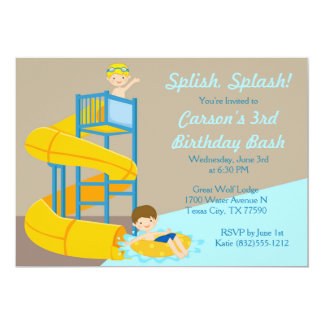 Water Slide Birthday - Boys Water Park Pool Party Card