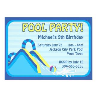 "Water Slide Birthday 5"" X 7"" Invitation Card"