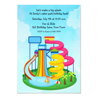 Water Slide Park Birthday Splash Card