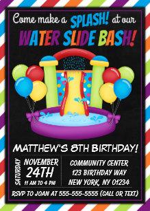 Water Slide Party Invitation Summer Birthday