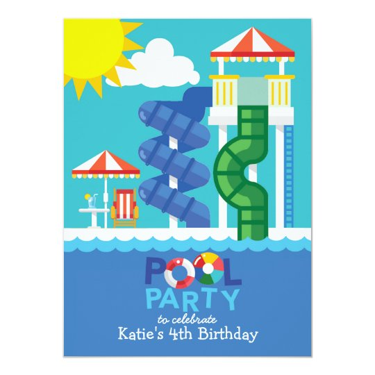 Water Slide Pool Party Birthday Invitation