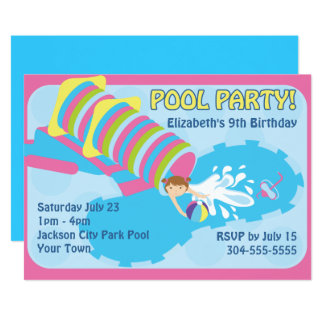 Water Slide Pool Party Card