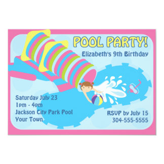"""Water Slide Pool Party 5"""" X 7"""" Invitation Card"""