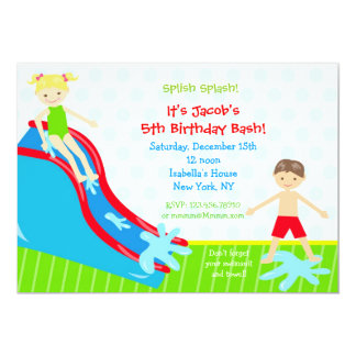 Water slide Waterslide Birthday Invitations