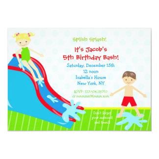 "Water slide Waterslide Birthday Invitations 5"" X 7"" Invitation Card"