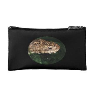 Water snake in emerald water cosmetic bags