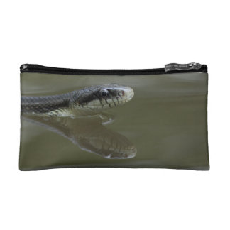 Water snake swimming with reflection cosmetic bag