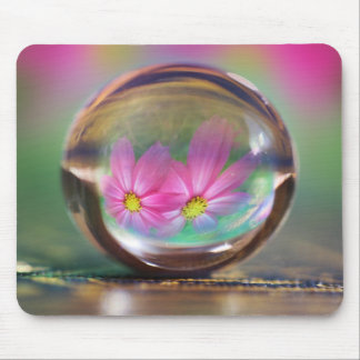 Water Sphere Pink Flowers Reflection Mouse Pad