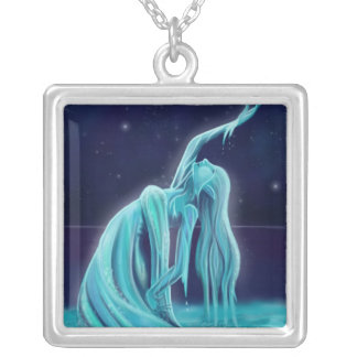 Water Spirit Square Pendant Necklace