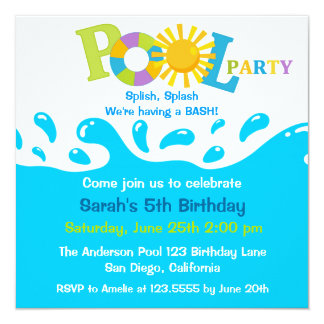 Water Splash Boy Pool Party Birthday Invitation Personalized Announcements