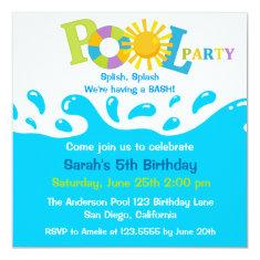 Water Splash Boy Pool Party Birthday Invitation 5.25