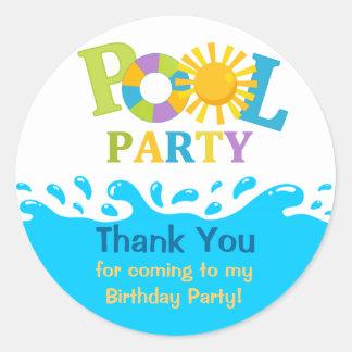 Water Splash Boy Pool Party Thank You Sticker Round Sticker