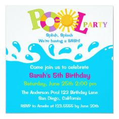 Water Splash Girl Pool Party Birthday Invitation 5.25