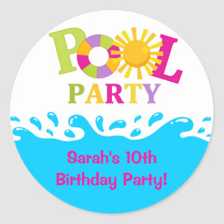 Water Splash Girl Pool Party Birthday Sticker