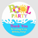 Water Splash Girl Pool Party Thank You Sticker