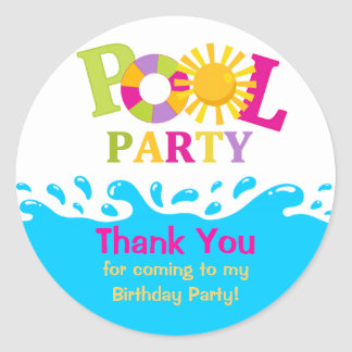 Water Splash Girl Pool Party Thank You Sticker