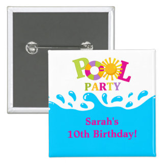 Water Splash Pool Party Birthday Button