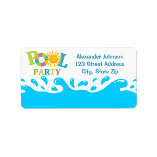 Water Splash Pool Party Boy Address Label
