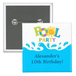 Water Splash Pool Party Boy Birthday Button