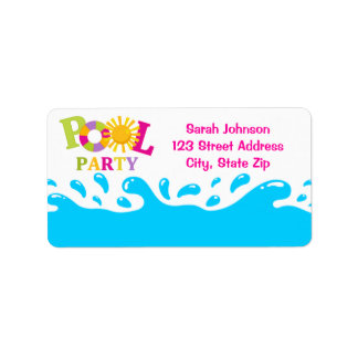 Water Splash Pool Party Girl Address Label