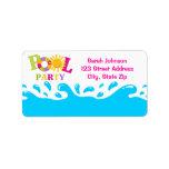 Water Splash Pool Party Girl Address Label Labels