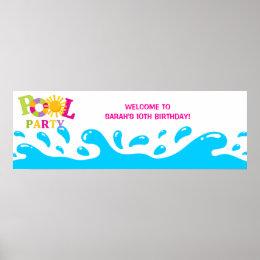 Water Splash Pool Party Girl Birthday Banner Poster