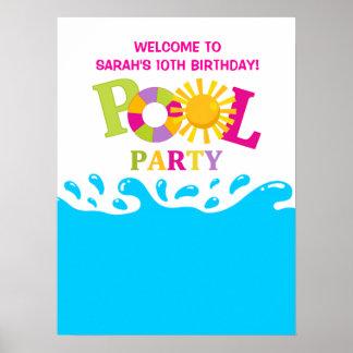 Water Splash Pool Party Girl Birthday Poster