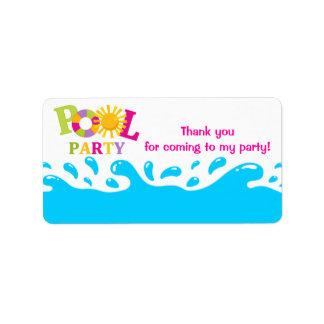 Water Splash Pool Party Girl Favor Tag Label Address Label