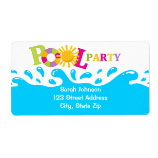 Water Splash Pool Party Girl Shipping Labels