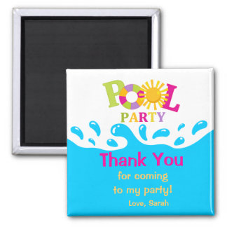 Water Splash Pool Party Girl Thank You Magnet