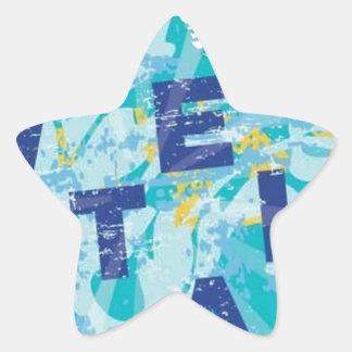 Water splash postcard star sticker