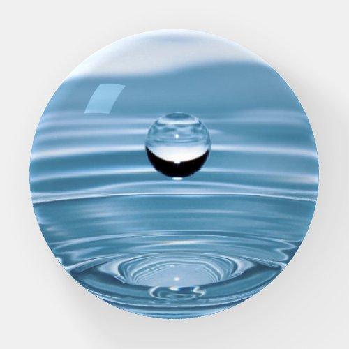 WATER SPLASH WITH DROP IN AQUA BLUE PAPERWEIGHT