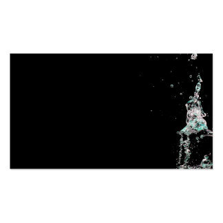 Water splashes on black background business cards