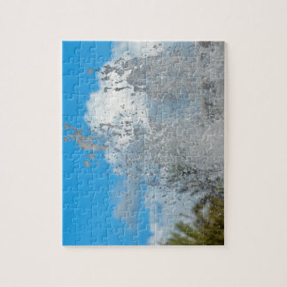 water splashing against blue sky puzzle